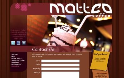 Cafe website header design