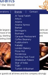 Restaurant drop-down menu design